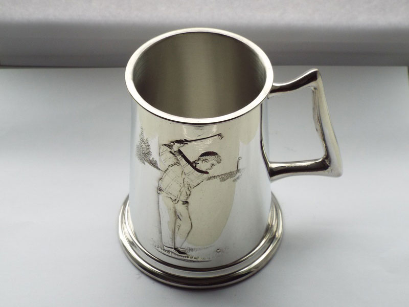 "1 Pint Embossed ""The Drive"" Golfing Pewter Tankard (T022)"