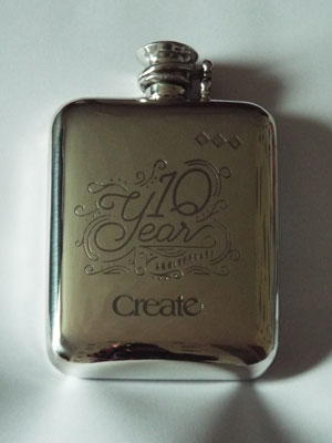 Commissioned 10 year anniversary pewter flask