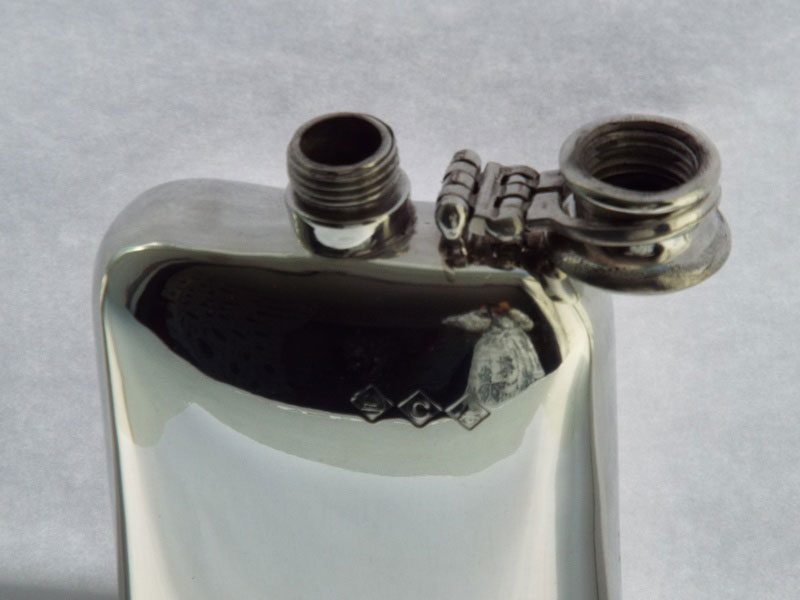 6oz Stamped Pewter Hip Flask with Captive Top (F002)