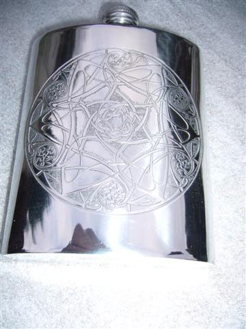 6oz Kidney Shaped Pewter Hip Flask with Engraved Celtic Moons (F004)