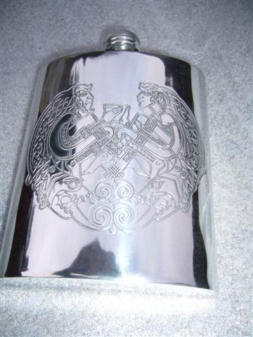 6oz Kidney Pewter Hip Flask Engraved with Celtic Gods Design (F005)
