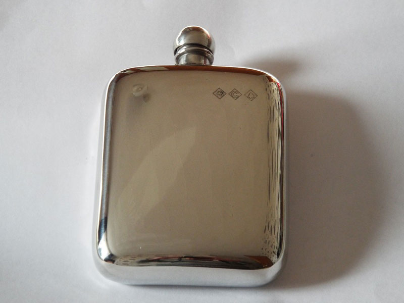 4oz Stamped Plain Pewter Hip Flask (F006)