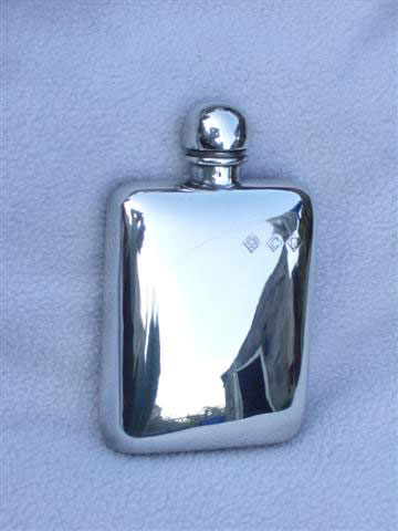 2.5oz Stamped Pewter Hip Flask (F007)