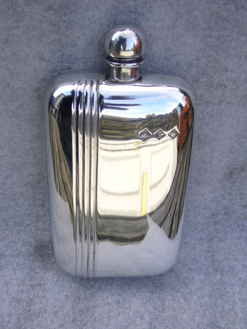 6oz Stamped Pewter Hip Flask with Fluted Strip