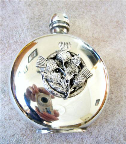 Round 6oz Pewter Hip Flask with Thistle Badge