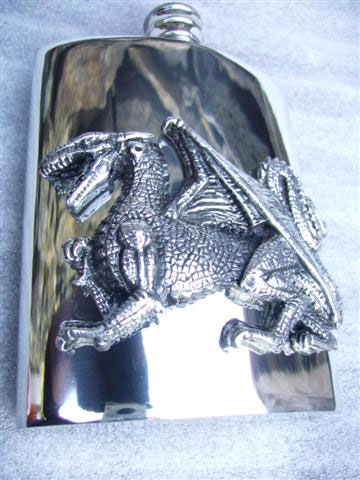 6oz Kidney Shaped Pewter Flask with Large English Dragon Badge (F013)