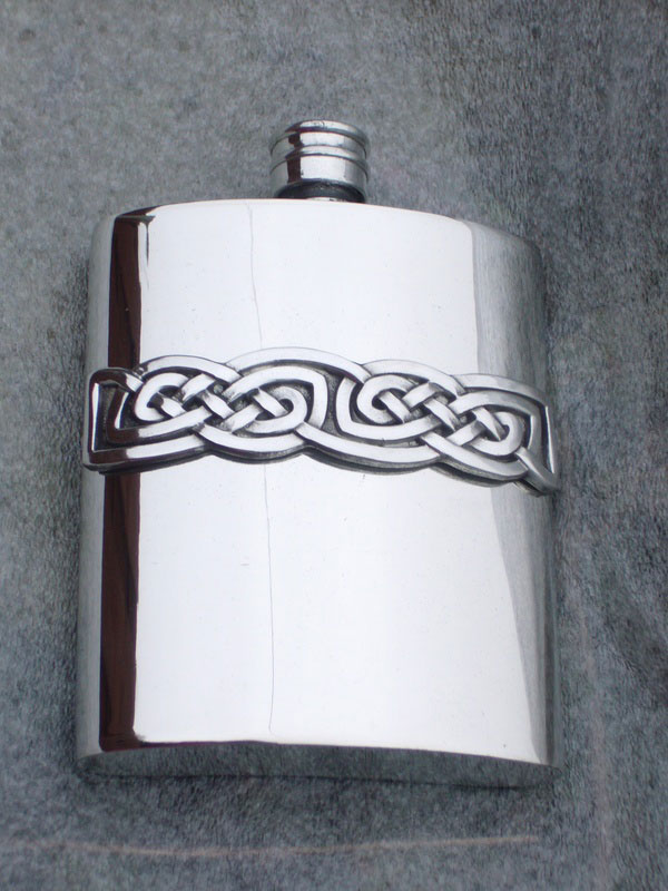 6oz Kidney Shaped Pewter Flask with Celtic Knotwork Band (F020)