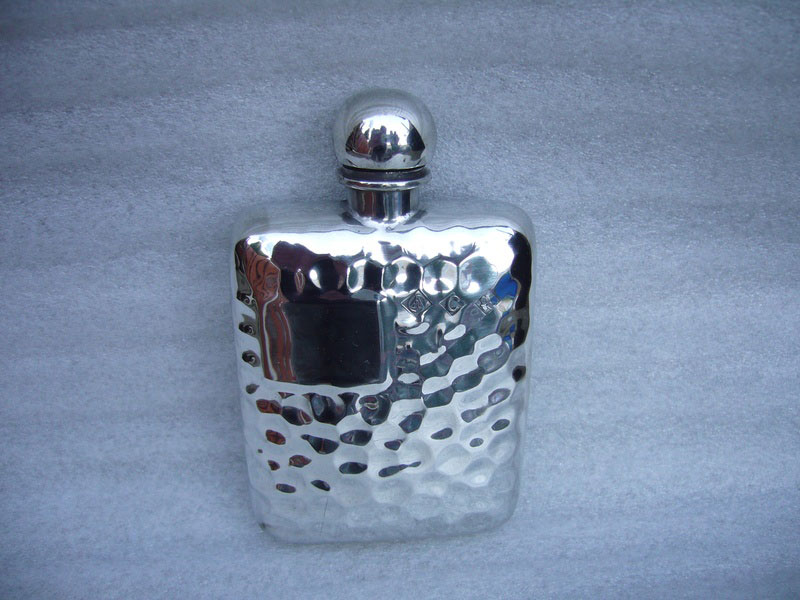 2.5oz Stamped Hammered Pewter Flask (F025)