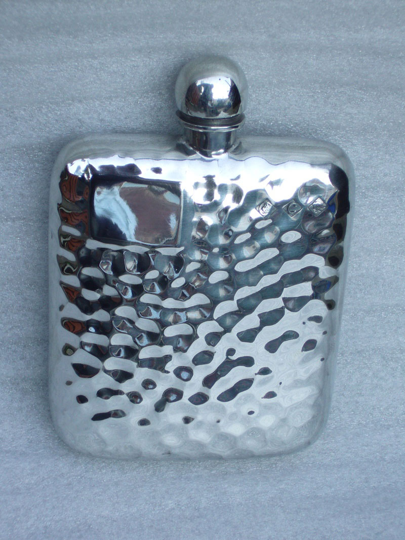 4oz Stamped Hammered Pewter Hip Flask (F027)