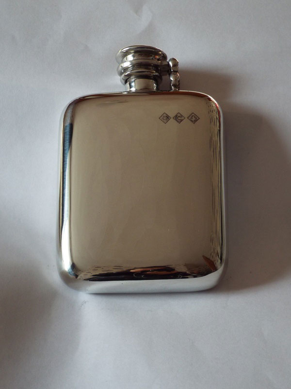4oz Stamped Pewter Flask with Captive Top (F033)