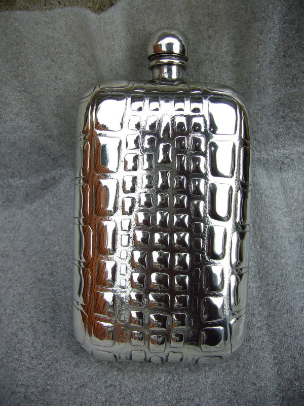 6oz Stamped Pewter Flask with Alligator Pattern (F035)