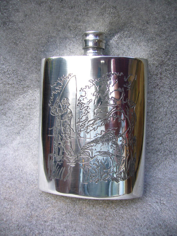 6oz Kidney Shaped Pewter Flask with Fishing Scene (F042)