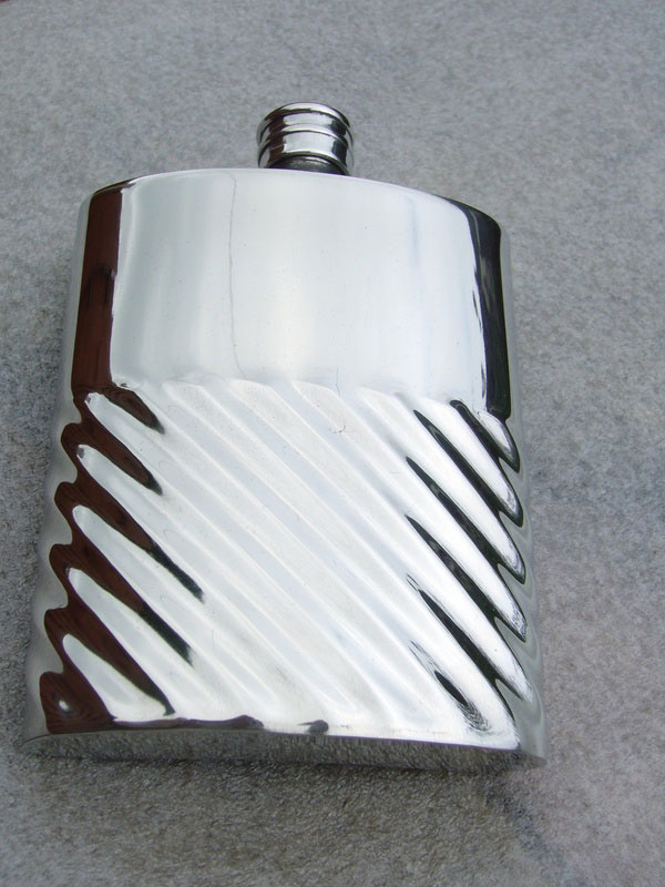 6oz Kidney Shaped Pewter Flask with Fluted and Plain Design (F051)