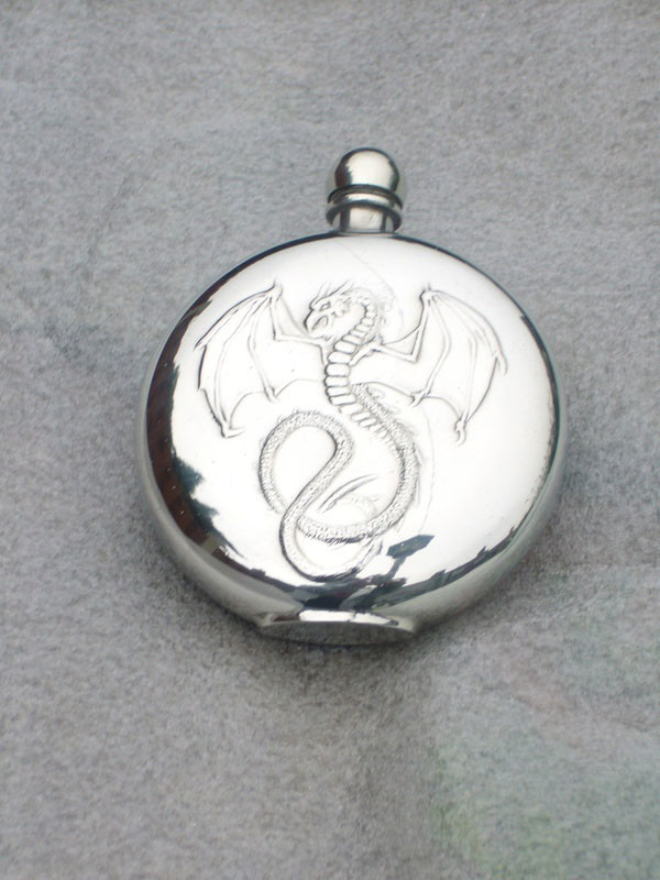 6oz Round Pewter Flask Embossed with Wyverex Dragon (F053)