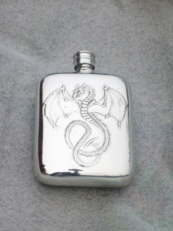 4oz Stamped Pewter Hip Flask Embossed with Wyverex Dragon (F054)