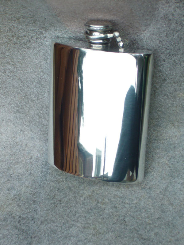 6oz Kidney Shaped Pewter Flask with Captive Top (F055)