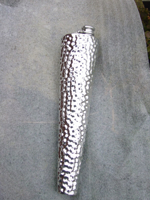 Hammered Pewter Saddle Flask with Captive Top