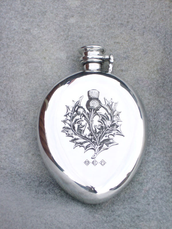 6.5oz Kuznet Curve Pewter Flask with Thistle Badge and Captive Top (F061)