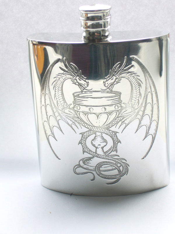 "6oz Kidney Shaped Pewter Flask ""Poison of Love"" Design with Entwined Dragons (F064)"