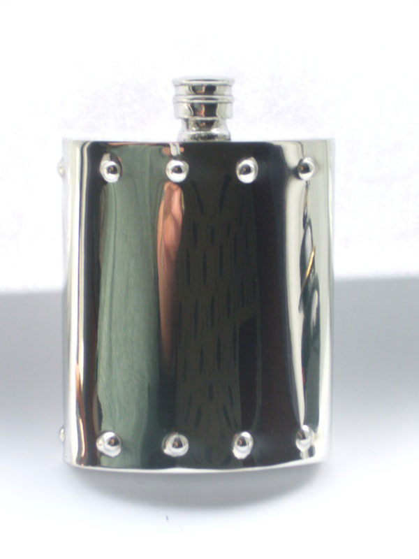 6oz Kidney Shaped Steam Punk Design Pewter Flask (F065)