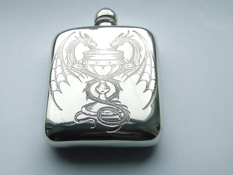"4oz Stamped Pewter Hip Flask ""Poison of Love"" Design with Entwined Dragons (F066)"