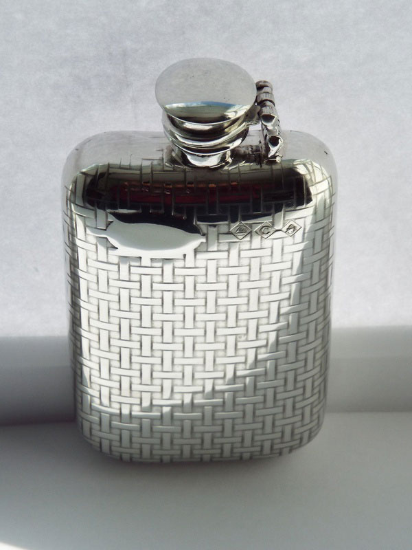6oz Woven Pattern Stamped Pewter Flask with Captive Top (F070)