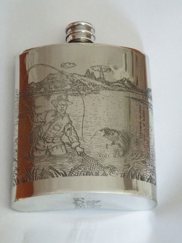Kidney Shaped Pewter Flask with Full Fishing Scene