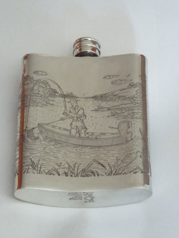 6oz Kidney Shaped Pewter Flask with Full Fishing Scene (F071)