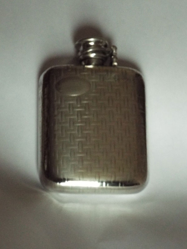 4oz Stamped Pewter Flask with Woven Pattern and Captive Top (F074)