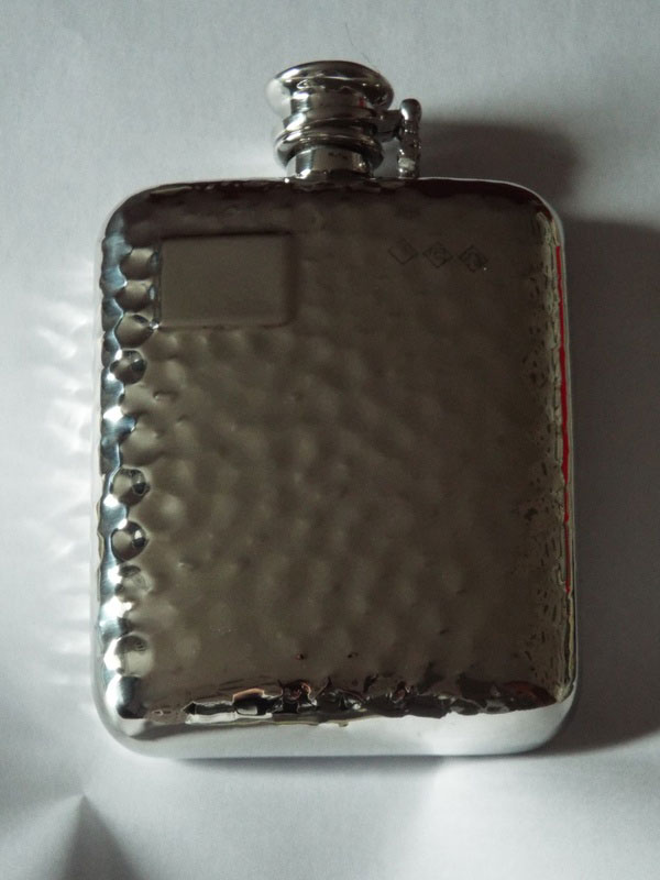 8oz Stamped Hammered Pewter Flask with Captive Top (F075)