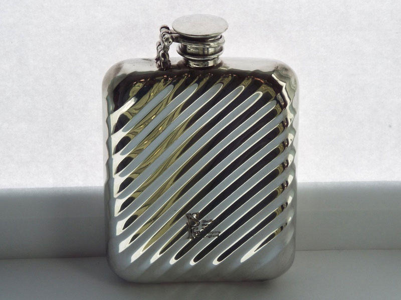 8oz Stamped Pewter Flask with Shadow Flute Design (F078)