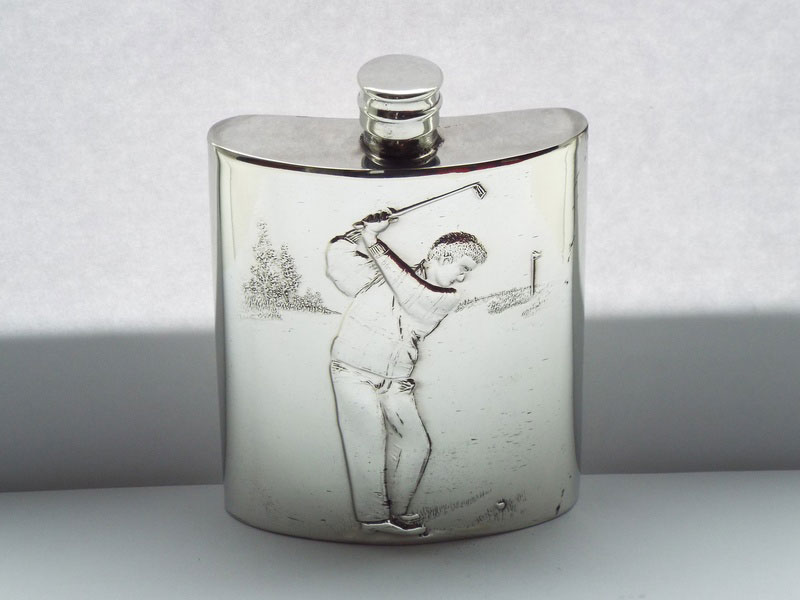 The Drive Embossed Kidney Shaped Pewter Golf Themed Flask