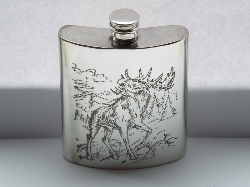 "6oz ""The Majestic Elk"" Engraved Pewter Hip Flask (F083)"