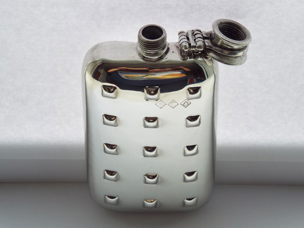6oz Stamped Geo-Tec Design Pewter Flask with Captive Top (F086)