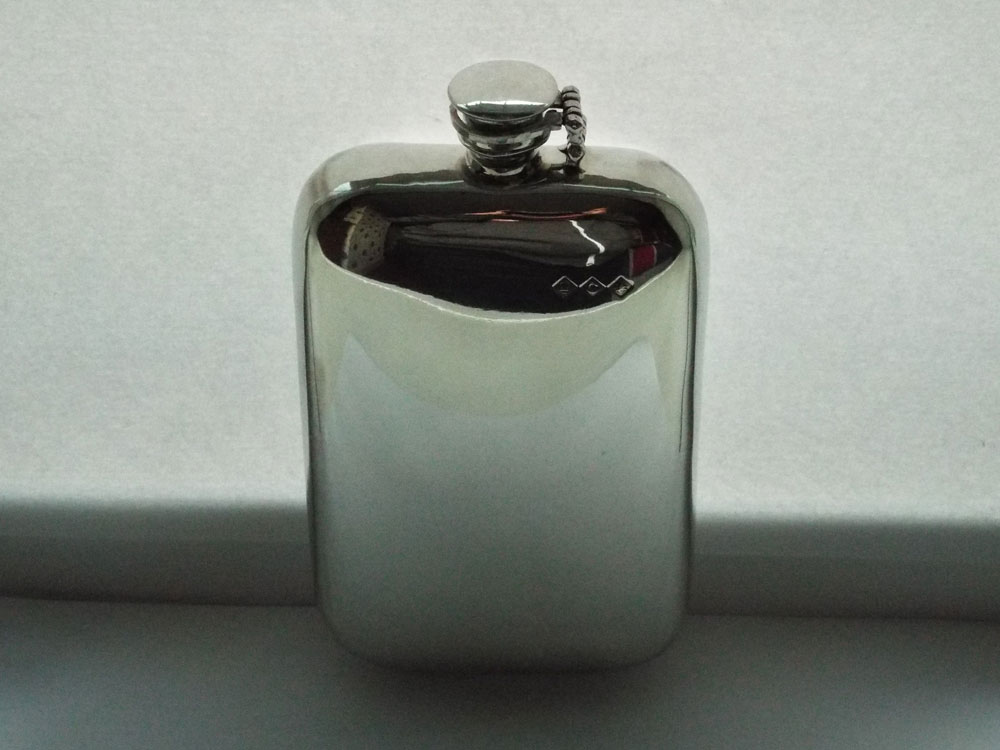 16oz Stamped Pewter Flask with Captive Top (F094)