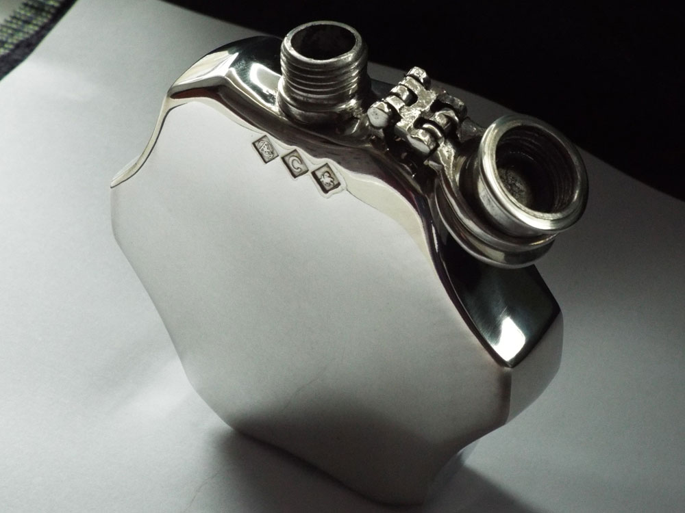 4oz Dodecagon Shaped Pewter Flask with Captive top (F095)