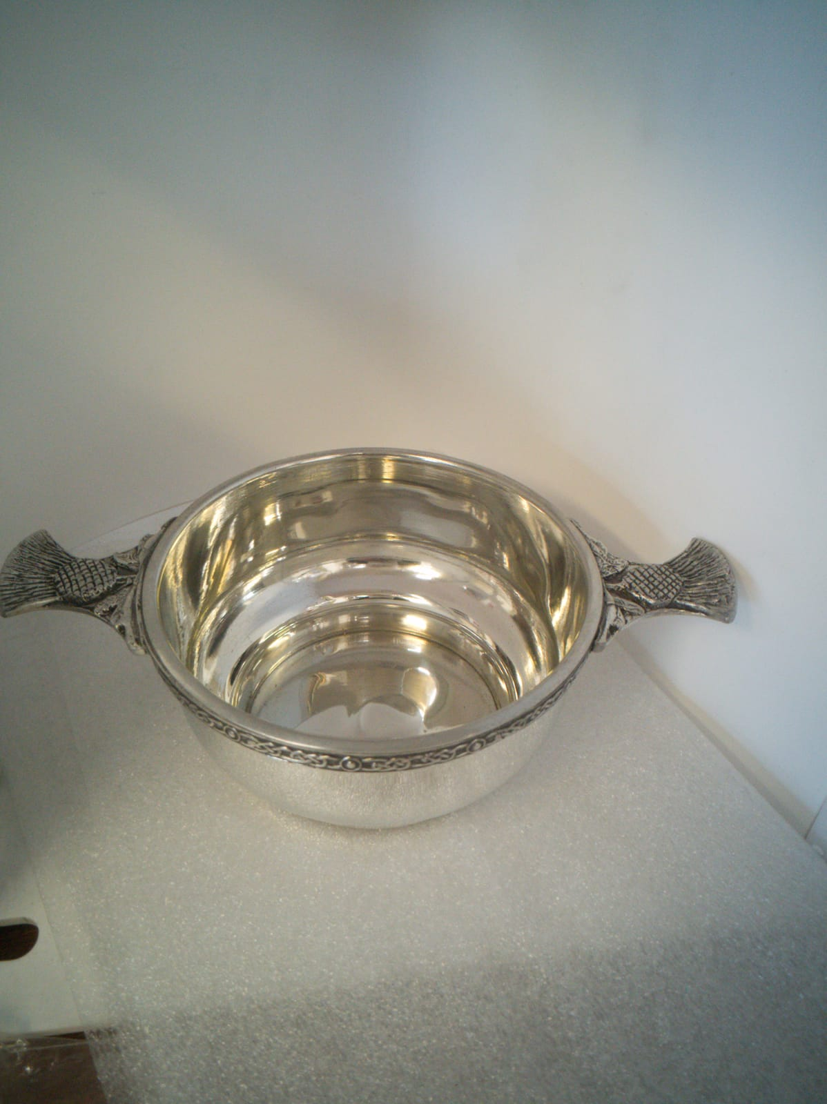 QB002 pewter celtic quaich bowl with thistle handle