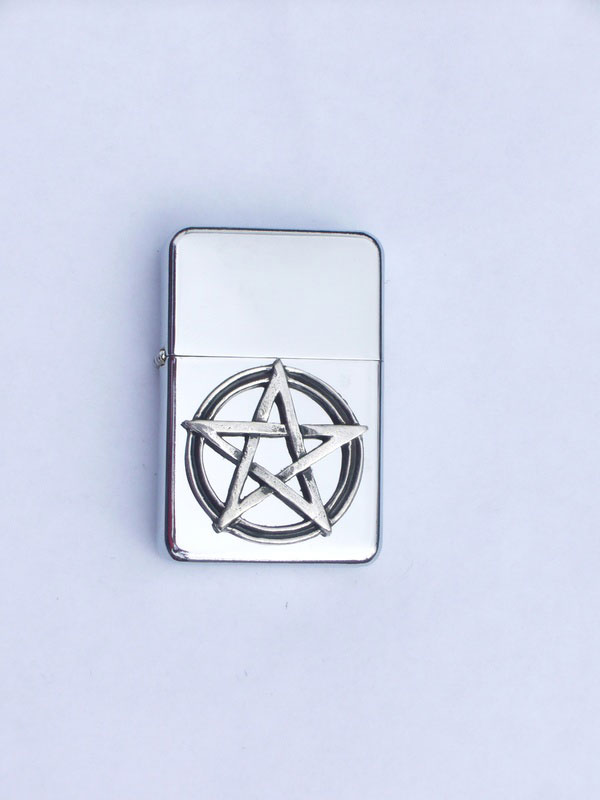 Petrol Lighter with Pewter Pentagram Badge (LP1)