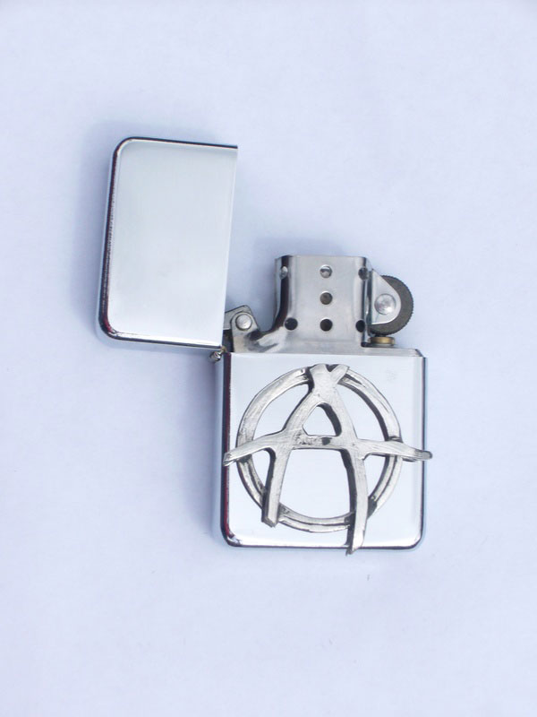 Petrol Lighter with Pewter Anarchy Badge (LP3)