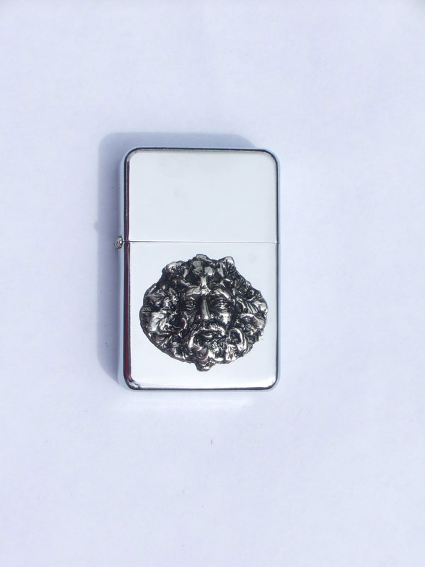 Petrol Lighter with Pewter Green Man Badge (LP4)