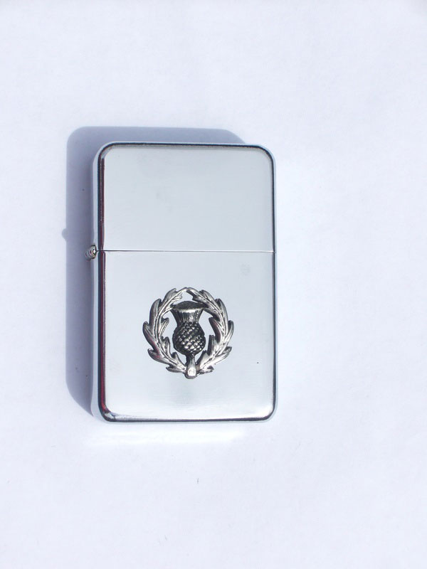 Petrol Lighter with Pewter Scottish Thistle Badge (LP5)