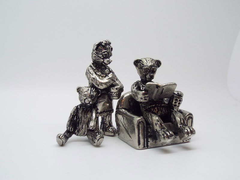 Pewter Teddy Bear Family Ornament