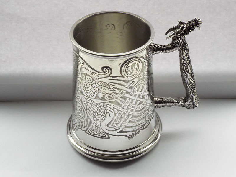 """The Tribal Dragon"" 1 Pint Pewter Tankard (T016)"