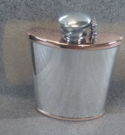 6oz Kidney flask copper top/base and captive top (F101)