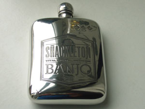 The Famous Shackleton Banjo Company pewter flask