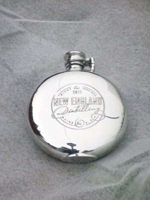Pewter Flask for The Famous New England Distillery USA