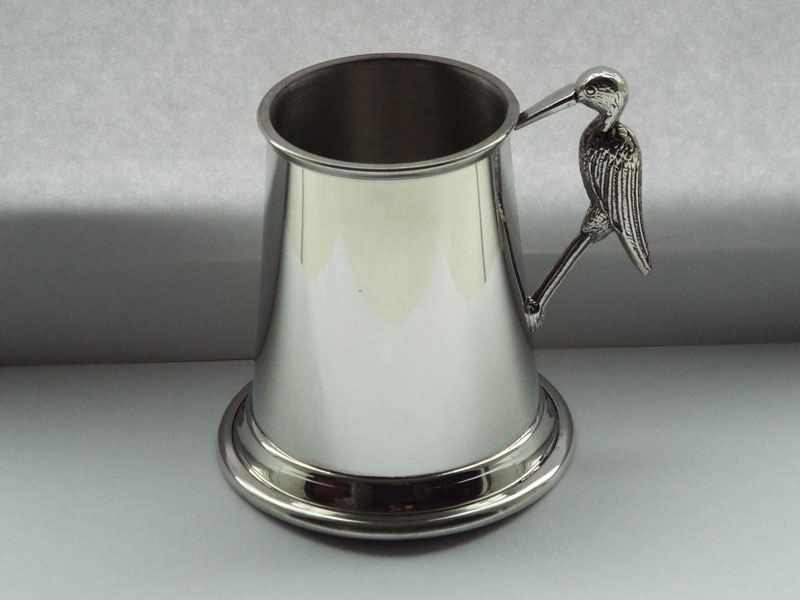 1/4 Pint Pewter Christening Tankard with Stork Handle (T018)