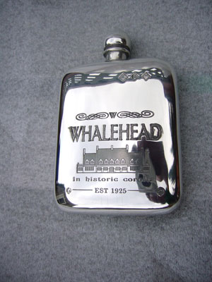 The Famous Whalehead Museum 4oz stamped pewter flask